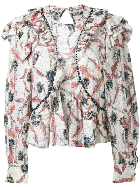 ISABEL MARANT Floral Printed Gauze Ruffled Top, Ecru