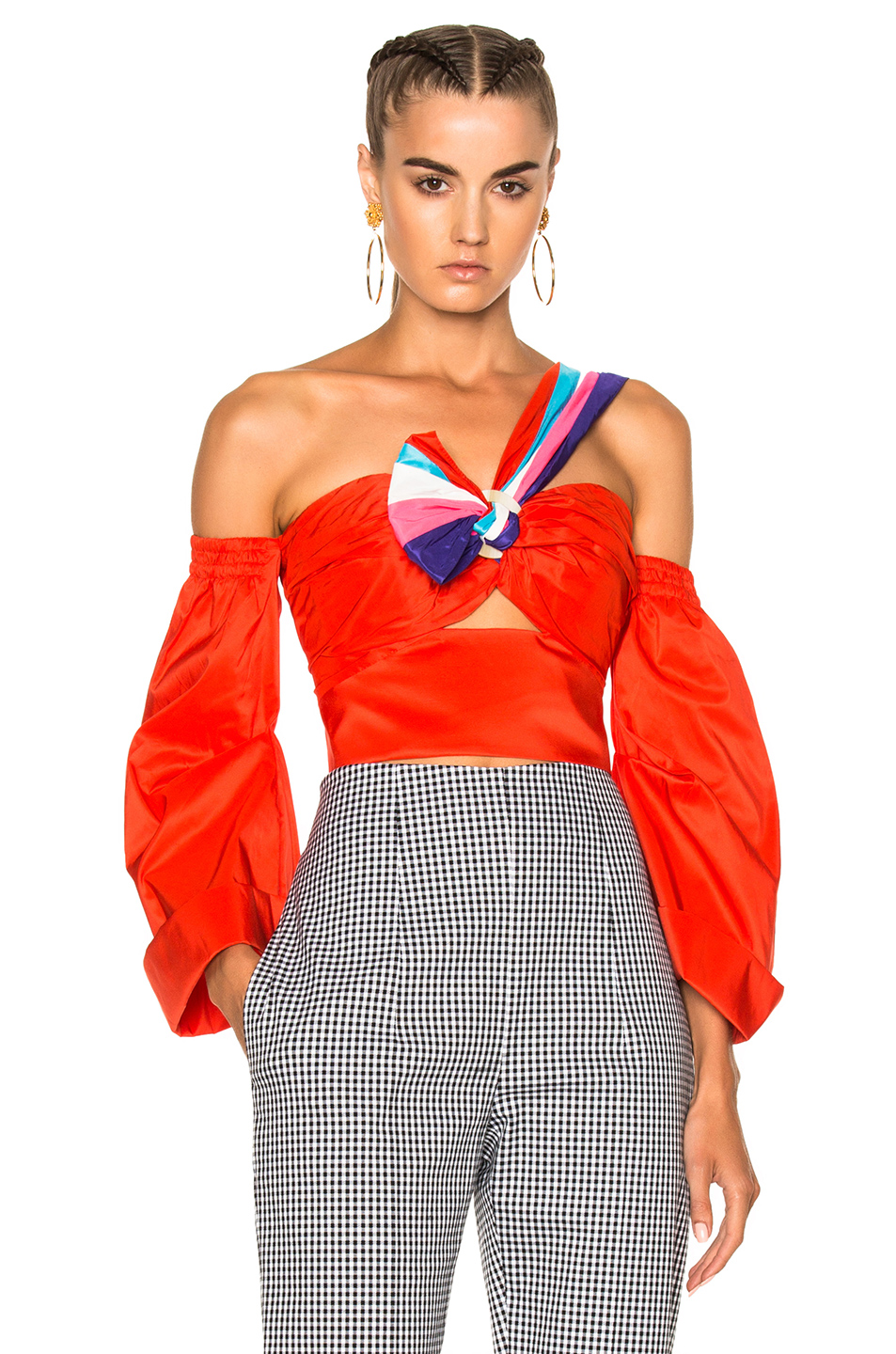 PETER PILOTTO OFF THE SHOULDER SHINY TAFFETA CROP TOP, RED