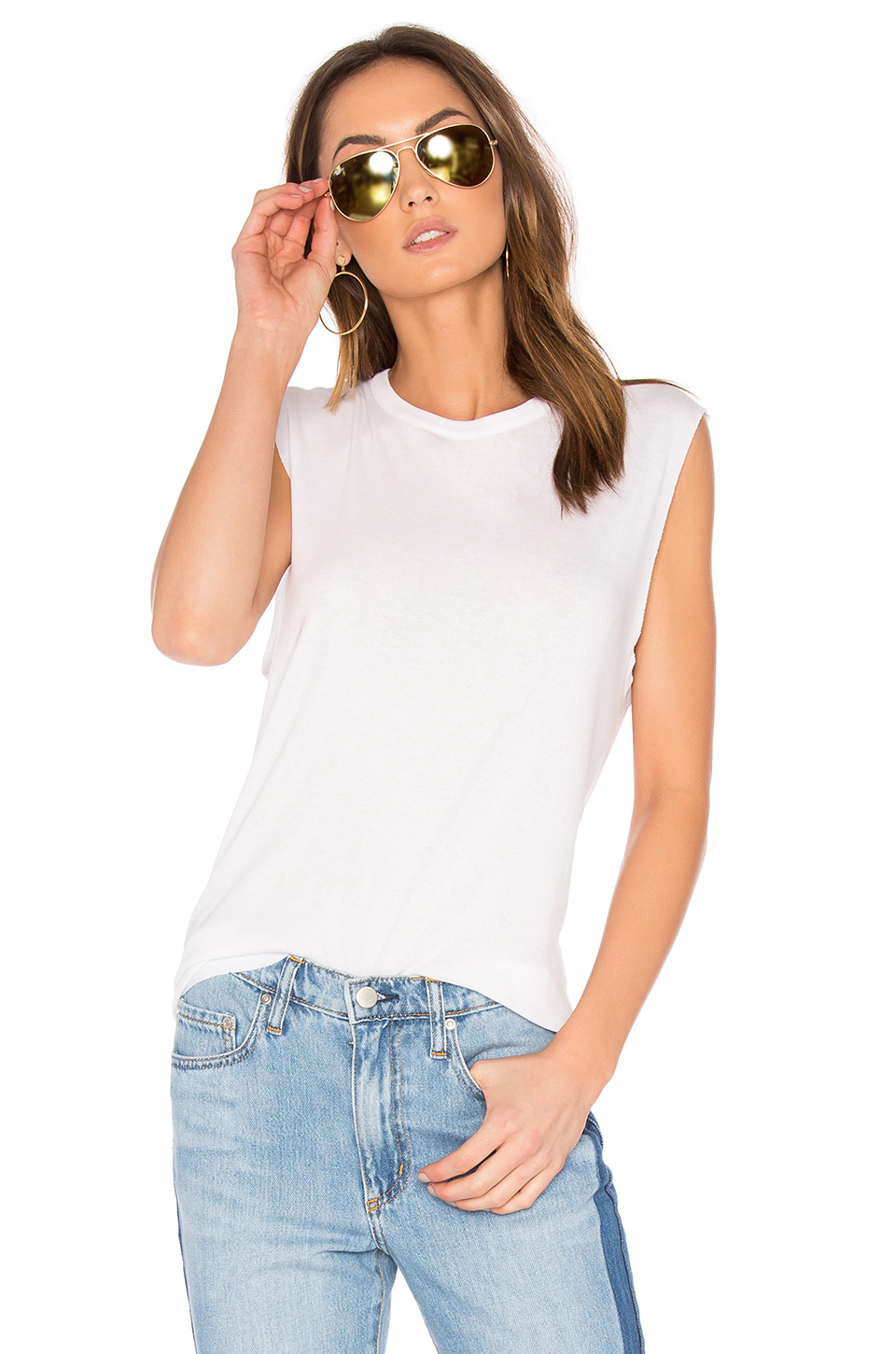VINCE Pima Cotton Shirttail Tank Shell in White