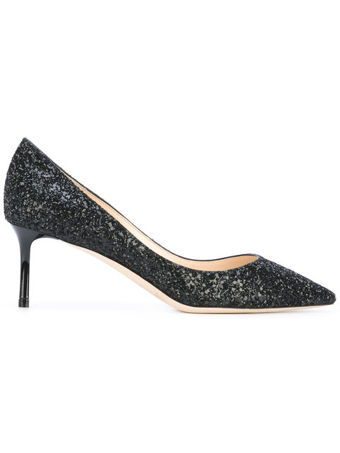 Romy 60 Twilight Glitzy Glitter Fabric Pointy Toe Pumps in Black