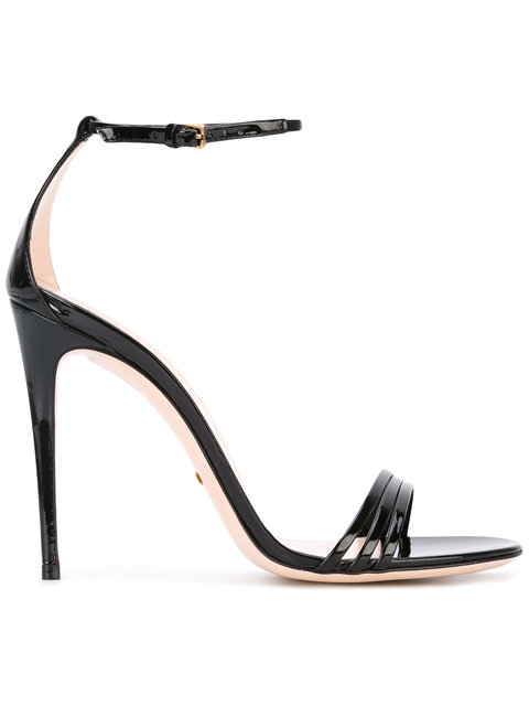 GUCCI BLACK PATENT LEATHER SANDAL