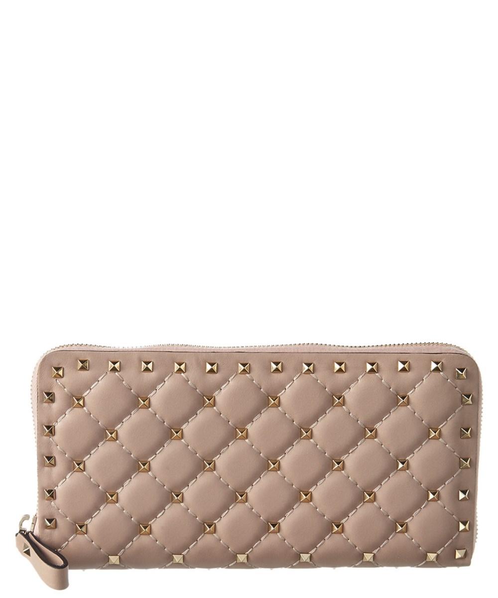 Wallet Rockstud Continental Spike Wallet With Zip, Khaki