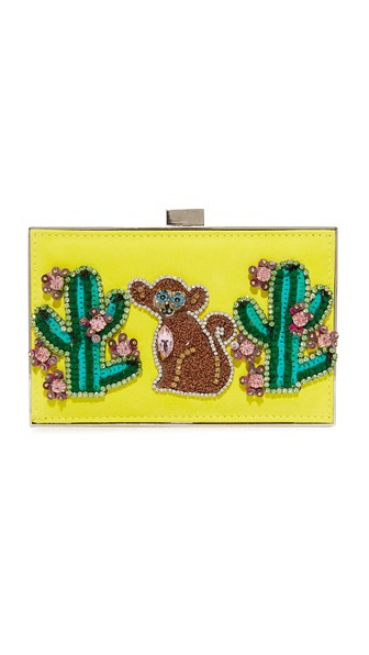 GEDEBE Monkey And Cactus Clutch in Yellow