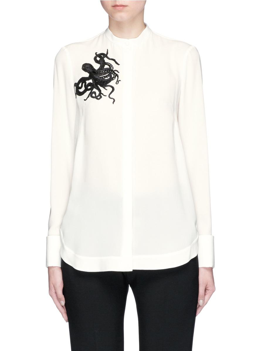 Octopus Embellished Silk Shirt, White