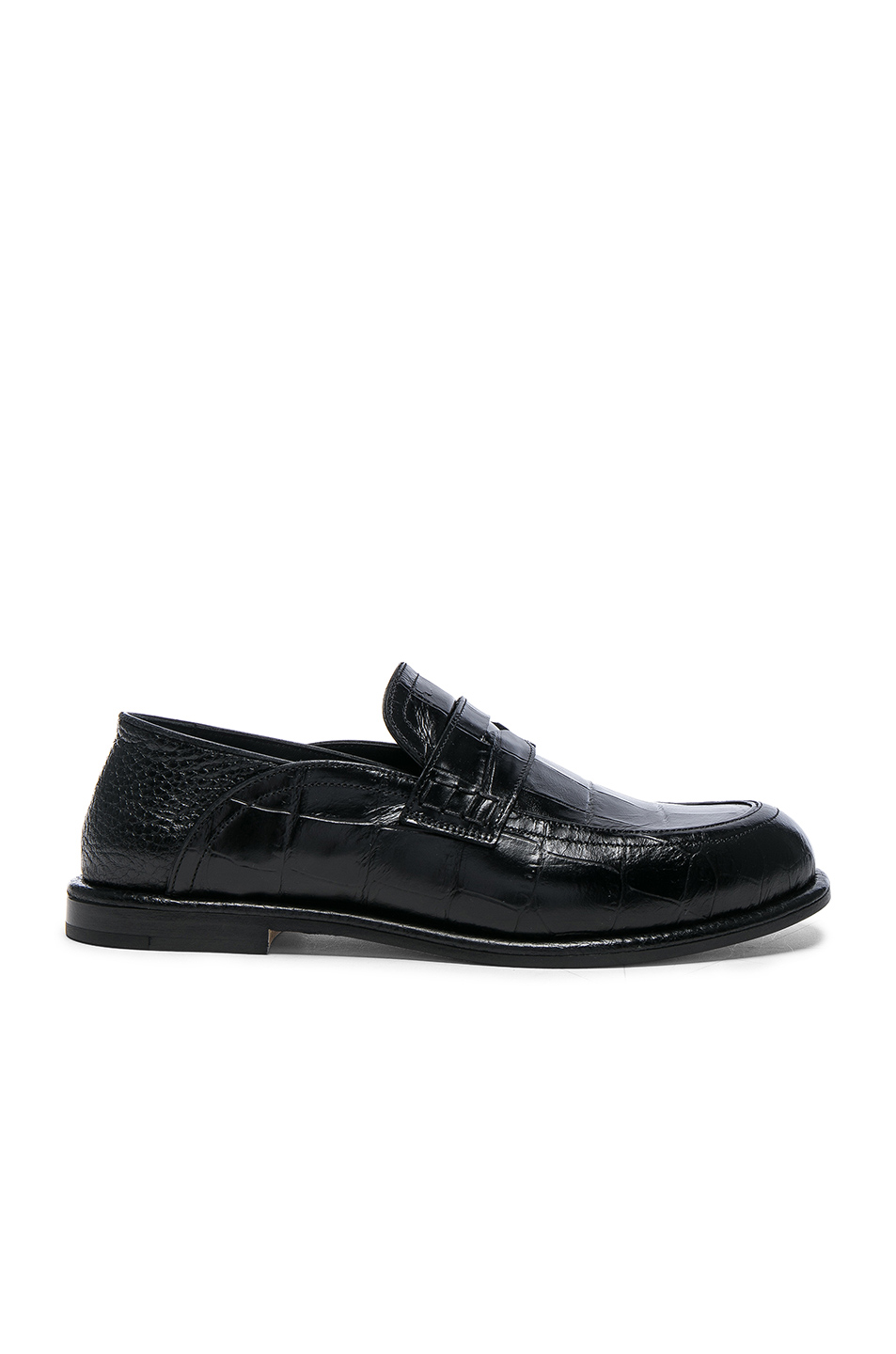 Collapsible-heel crocodile-effect leather loafers Loewe F5rXxW