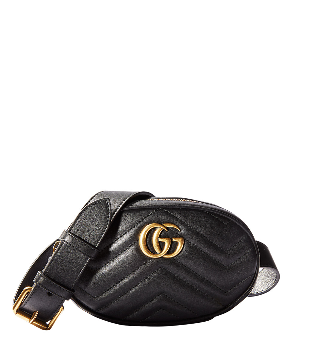 Gg Marmont 2.0 Matelasse Leather Belt Bag - Black