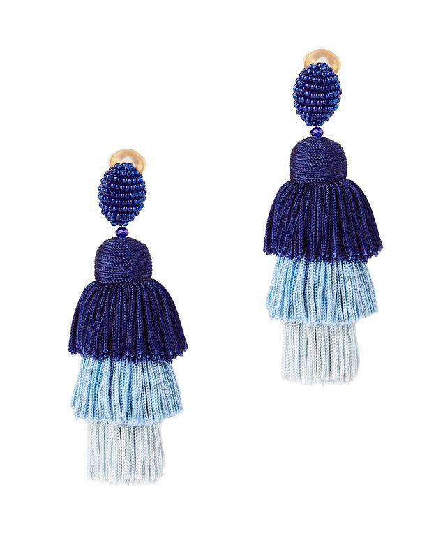 Oscar De La Renta Long Silk Tiered Tassel Clip-On Earrings Tnplav