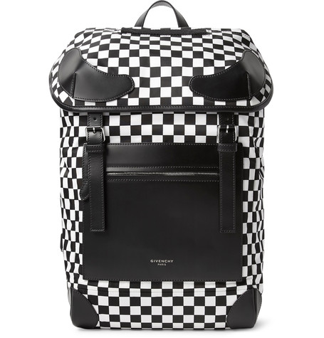 GIVENCHY Rider Leather And Checkerboard Shell Backpack in Black/White