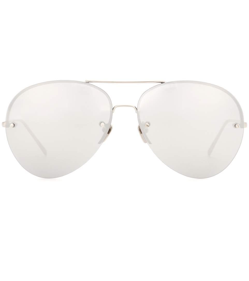 White Gold-Plated Mirrored Aviator Sunglasses