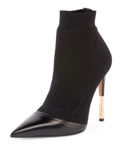 Aurore Leather-Trimmed Stretch-Knit Sock Boots in Black from Glamest