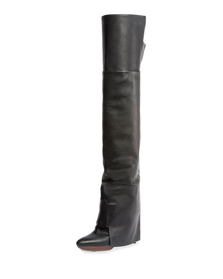 GIVENCHY 125Mm Newton Leather Over The Knee Boots, Black