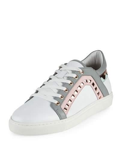 Riko Metallic-Trimmed Leather Sneakers, White