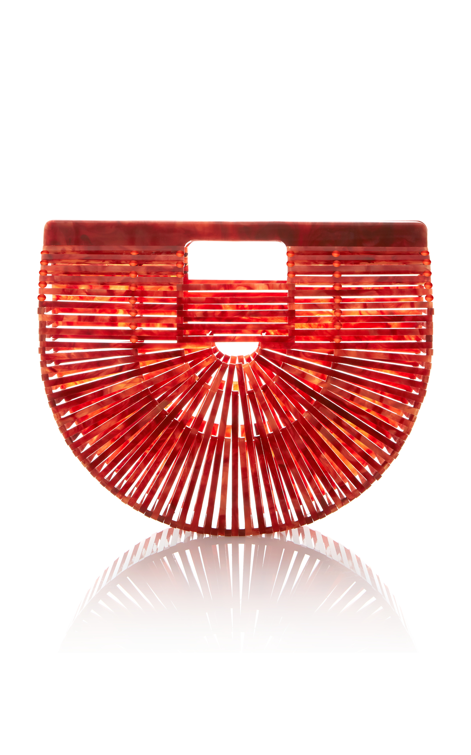 Ark Mini Acrylic Clutch Bag, Orange in Red