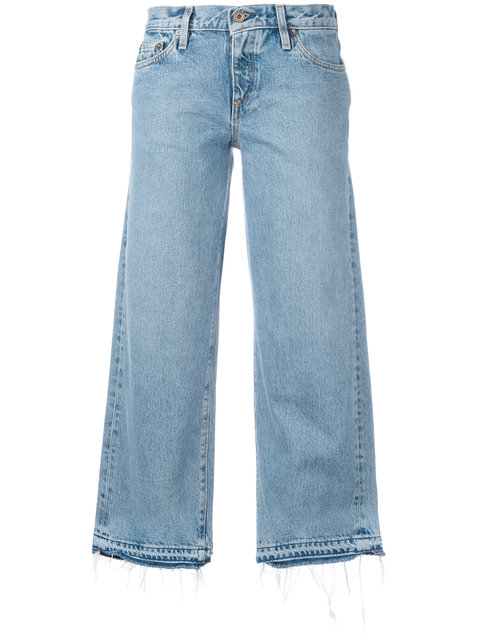 Woman Cropped Distressed Low-Rise Wide-Leg Jeans Light Denim in Blue