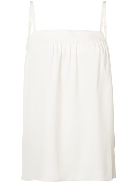 VINCE Embroidered Silk Camisole in Gesso