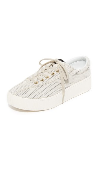 Women'S Nylite Bold Perforated Nubuck Leather Lace Up Platform Sneakers, Sand/ Sand
