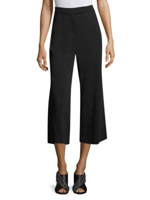 Kyle Lace-Front Cropped Gaucho Pants, Black