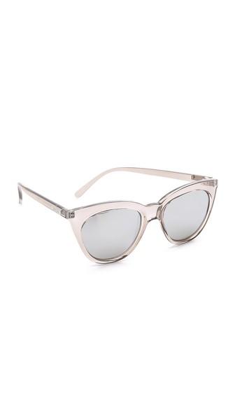 LE SPECS Halfmoon Magic 51Mm Cat Eye Sunglasses - Stone/ Silver Mirror in Stone/Smoke Mono Silver Mirror