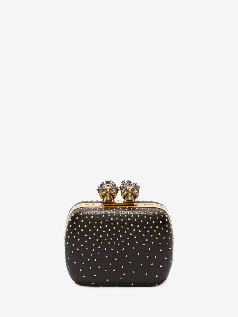 "Studded ""Queen And King"" Skeleton Box Clutch in Black"