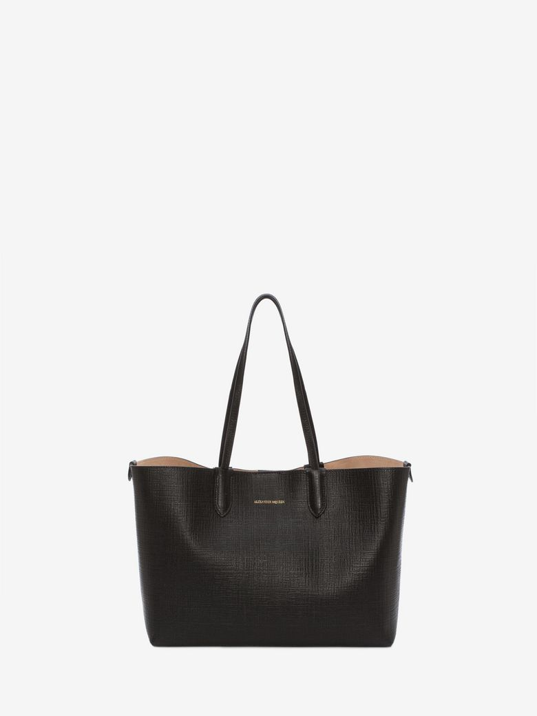 Medium Calfksin Leather Shopper - Black