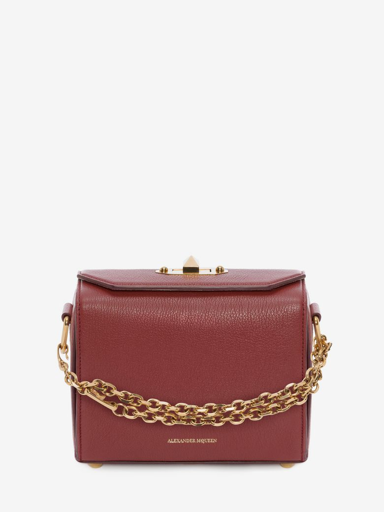 Box 19 Silky Leather Satchel Bag W/ Removable Chains, Scarlet