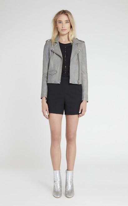 Ashville Leather Jacket in Stone Grey