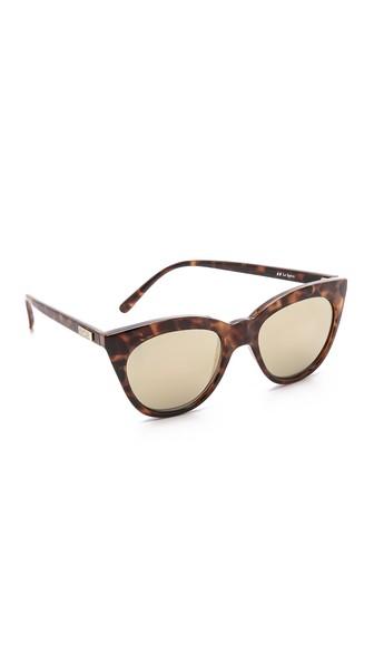 LE SPECS Halfmoon Magic 51Mm Cat Eye Sunglasses - Tortoise/ Gold Mirror