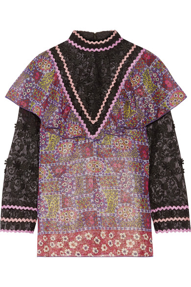 Buy Cheap 100% Original Sale Sale Online Anna Sui Woman Embroidered Tulle And Printed Silk-blend Chiffon Blouse Purple Size 0 Anna Sui Pay With Paypal Online jqSXydpmH