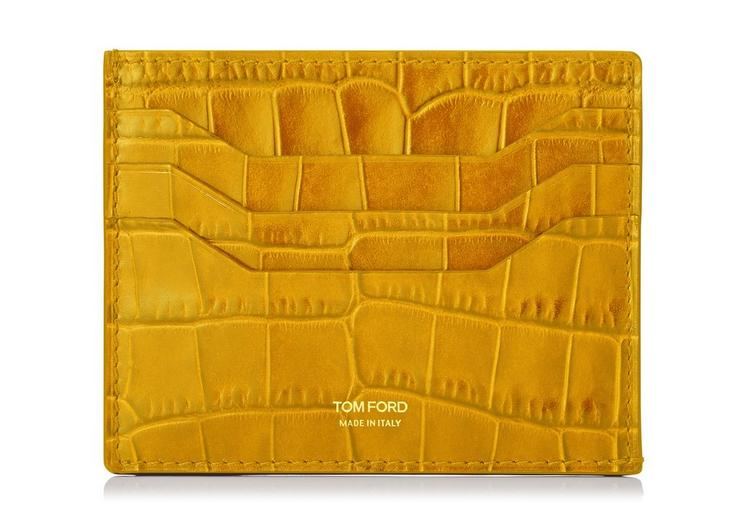TOM FORD Alligator Credit Card Holder in Ochre