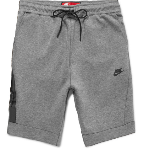 NIKE Cotton-Blend Tech-Fleece Shorts  in Carbon Heather