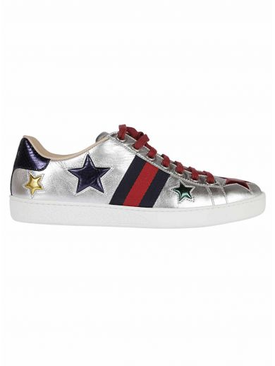 GUCCI 'Nappa Silk' Leather Sneakers in Argento