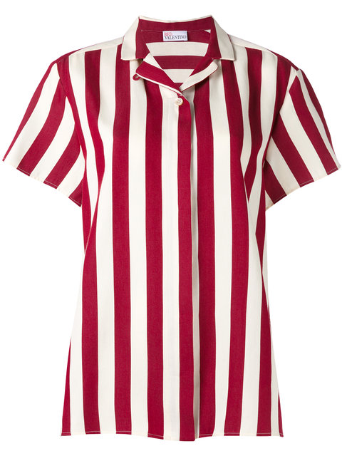 RED VALENTINO Striped Short-Sleeve Shirt in Amarena