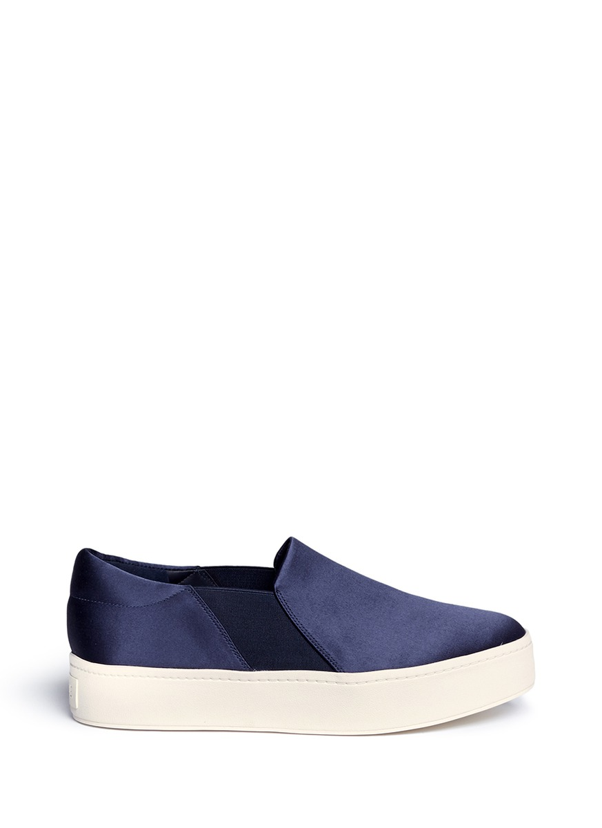 VINCE Women'S Warren Satin Slip-On Platform Sneakers in Deep Blue