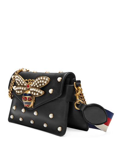 Black Calfskin Leather Broadway Mini Shoulder Bag in Blue