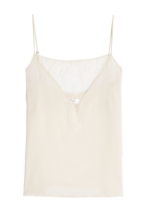 ANINE BING Silk Camisole With Lace in Nude