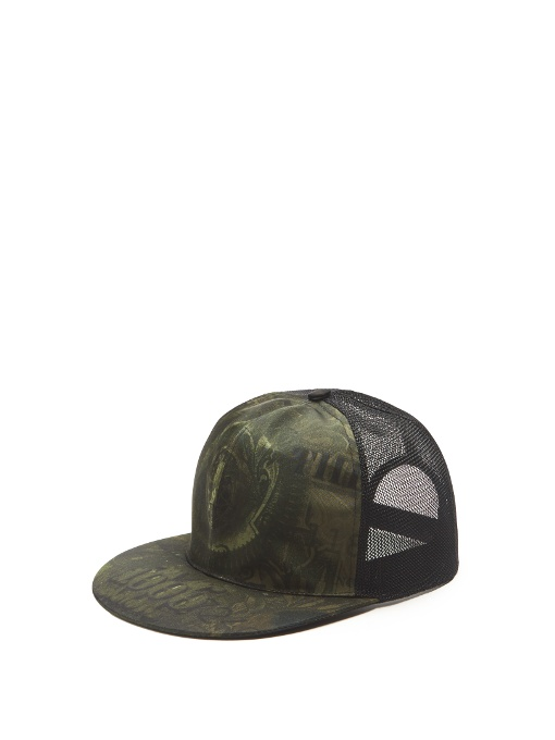 GIVENCHY ABSTRACT-DOLLAR-BILL-PRINT TRUCKER HAT, OLIVE