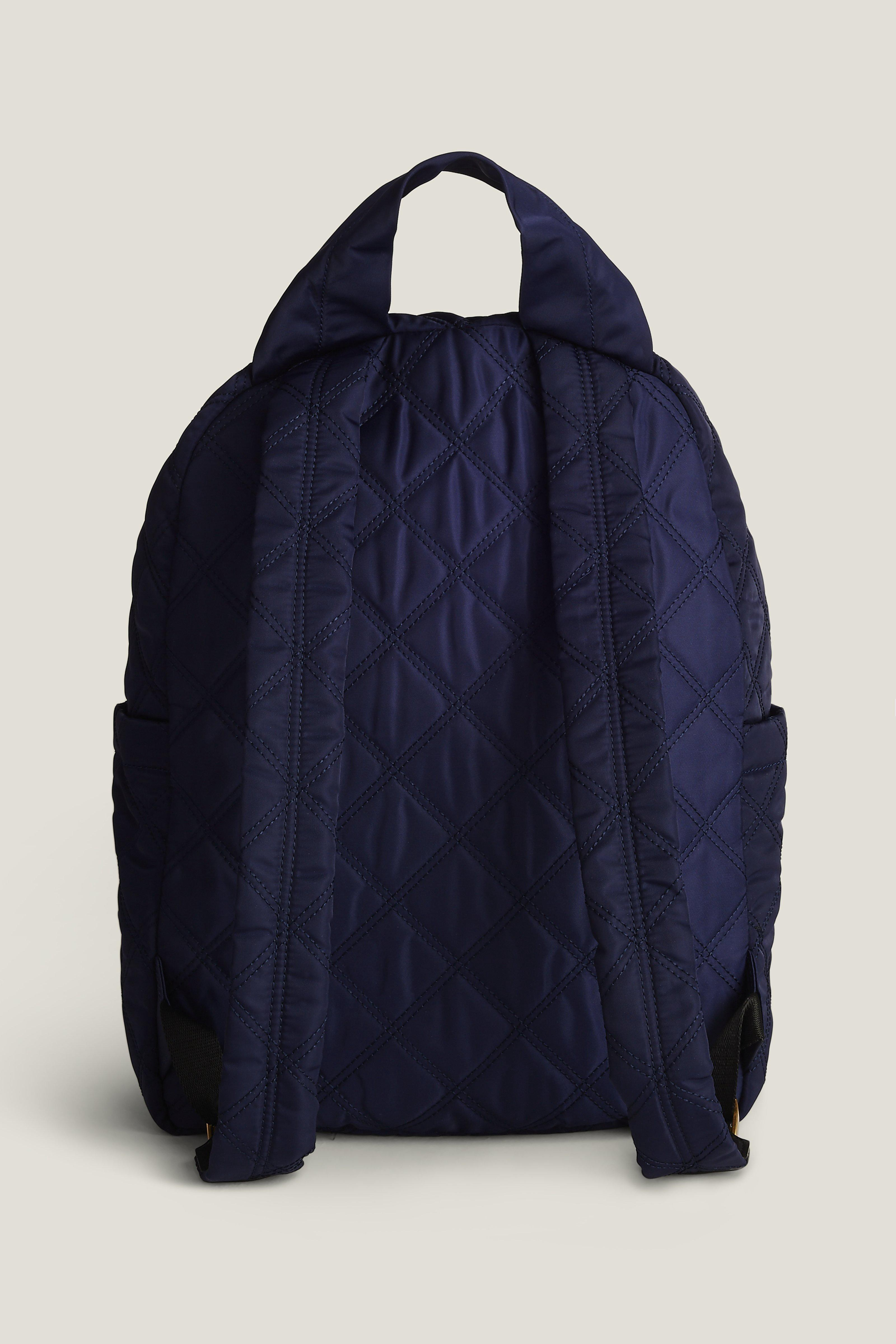MARC JACOBS KNOT LARGE QUILTED NYLON BACKPACK, MIDNIGHT BLUE