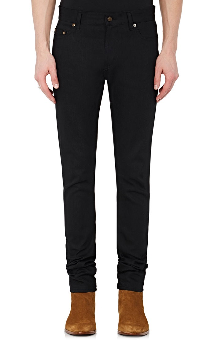 SAINT LAURENT Ripped Skinny Jeans in Black