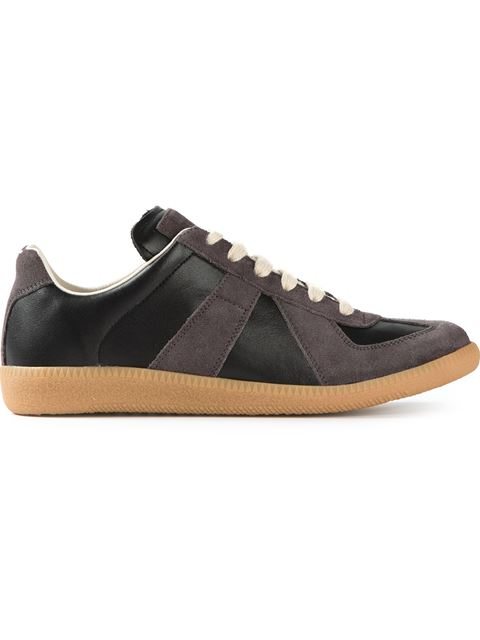 Replica Leather And Suede Sneakers, Black
