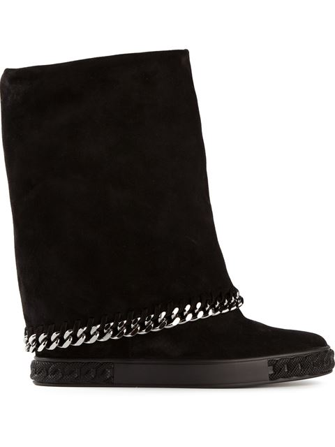90Mm Suede Wedged Boots With Chain Trim, Black from CASADEI