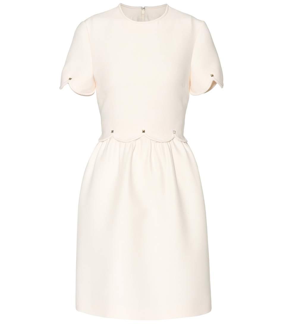 Scalloped Wool And Silk-Blend Dress, White