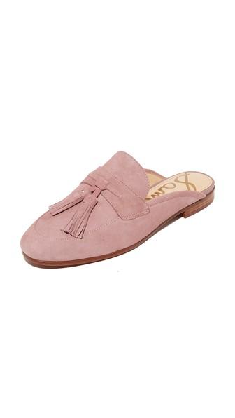 Paris Backless Tassel Loafer, Pink Mauve Suede
