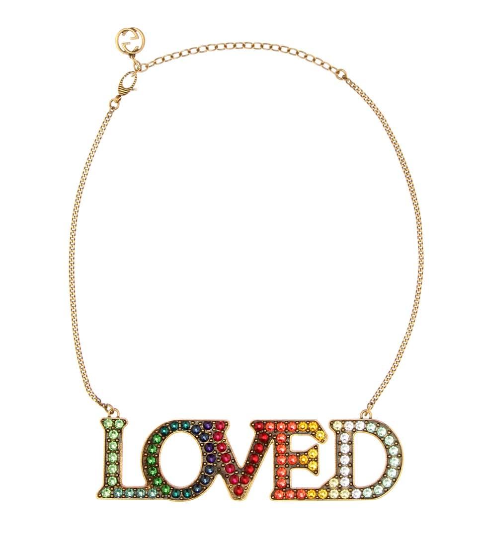 Gucci Loved Crystal-Embellished Necklace, Multicolor