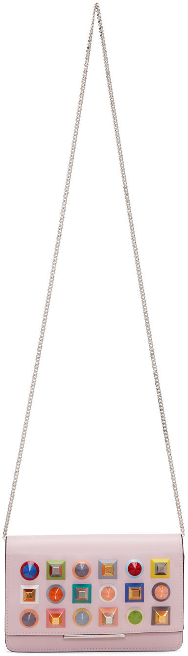 Fendi Beige Rainbow Tube Wallet Chain Bag