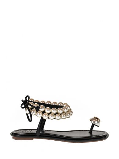 5eb063d160dbaa Tory Burch Melody Pearly Ankle-Wrap Flat Sandal
