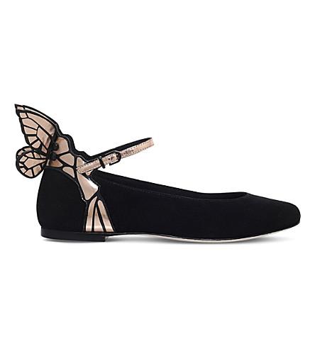 Chiara Metallic Leather-Trimmed Suede Ballet Flats, Black