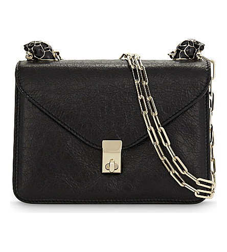 VALENTINO Panther Small Leather Shoulder Bag in Black