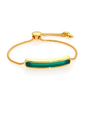 Baja 18Ct Gold-Plated Vermeil And Green Onyx Bracelet, Gold-Green Onyx