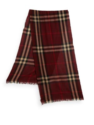 Burberry Men'S Cashmere Giant Icon Scarf, Deep Claret