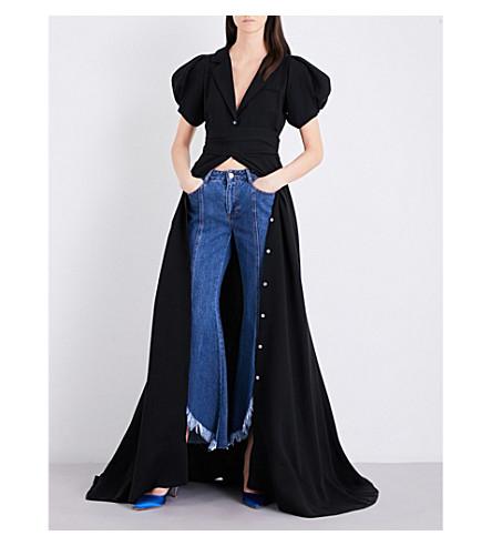 ROSIE ASSOULIN Puff Sleeve Silk-Crepe Gown in Black